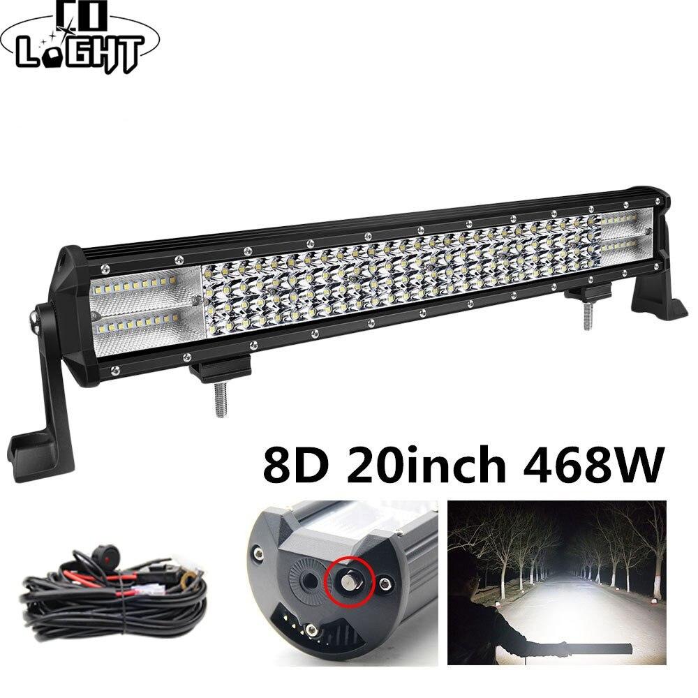 Co Light 8D Led Bar 20 pulgadas 468W 4X4 Led luz de trabajo 12V 24V de inundación Spot, barra de luz Led para Auto camión Tractor Lada Niva UAZ ATV SUV