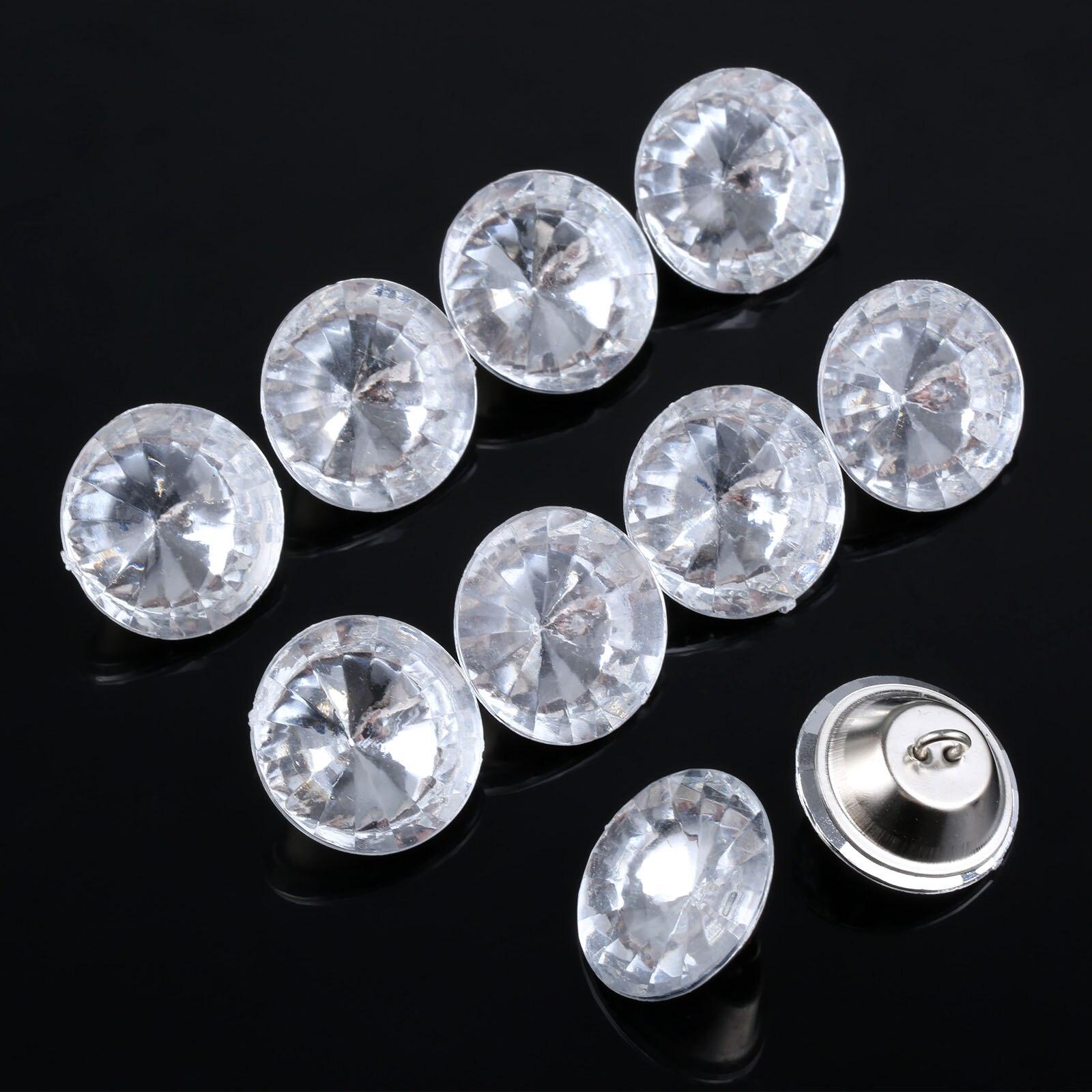 10Pcs Rhinestone Diamond Acrylic Upholstery Buttons 2 Size Furniture Accessory