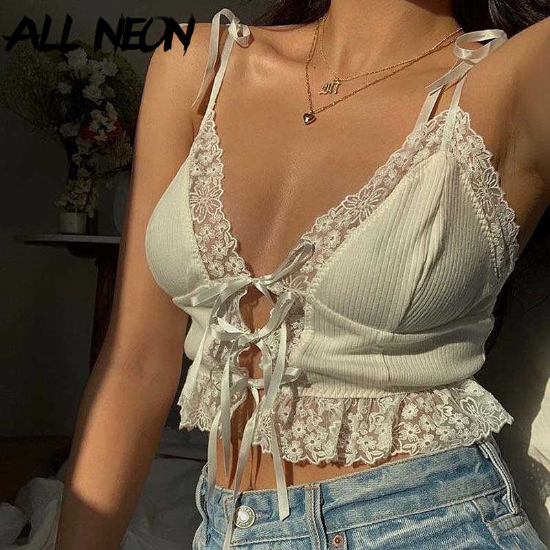 White Ribbed Stretchy Bow Detail Tie Up Front bralet Crop Top 90s Style