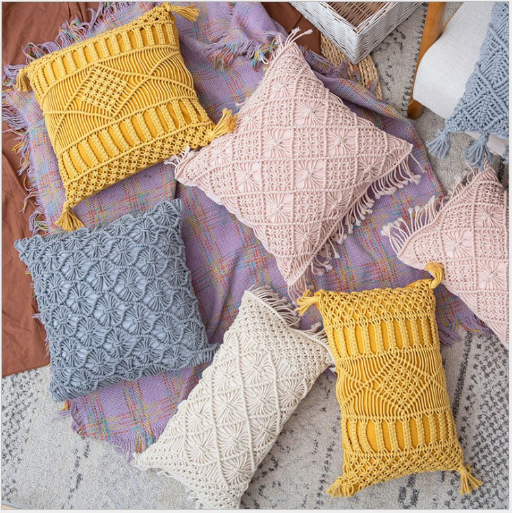 Hand-woven Cotton Thread Cushion Cover With Tassels Colorfu Macrame Geometry Bohemia Ethnic Pillow Cover 30x50cm Home Decoration