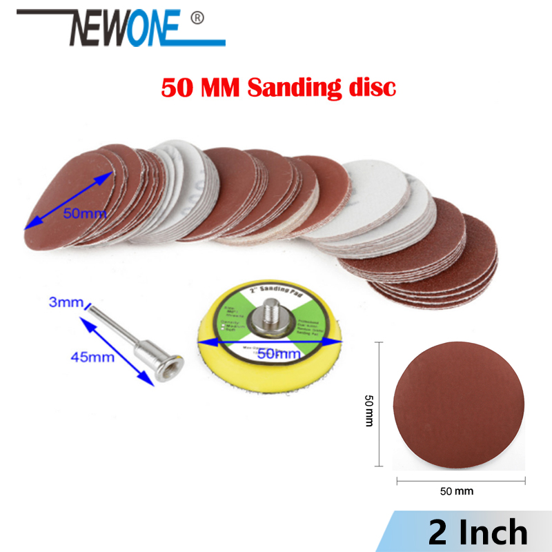 100 Pc 2inch 50mm Different Grit Mix Sander Disc Sanding Polishing Pad Sandpaper