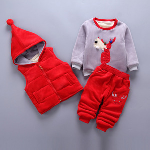 Image 5 - 3pcs/Lot! Winter childrens clothing baby boys girls suit Super warm fleece sweater + Hooded vest + pants Infant thickening suit