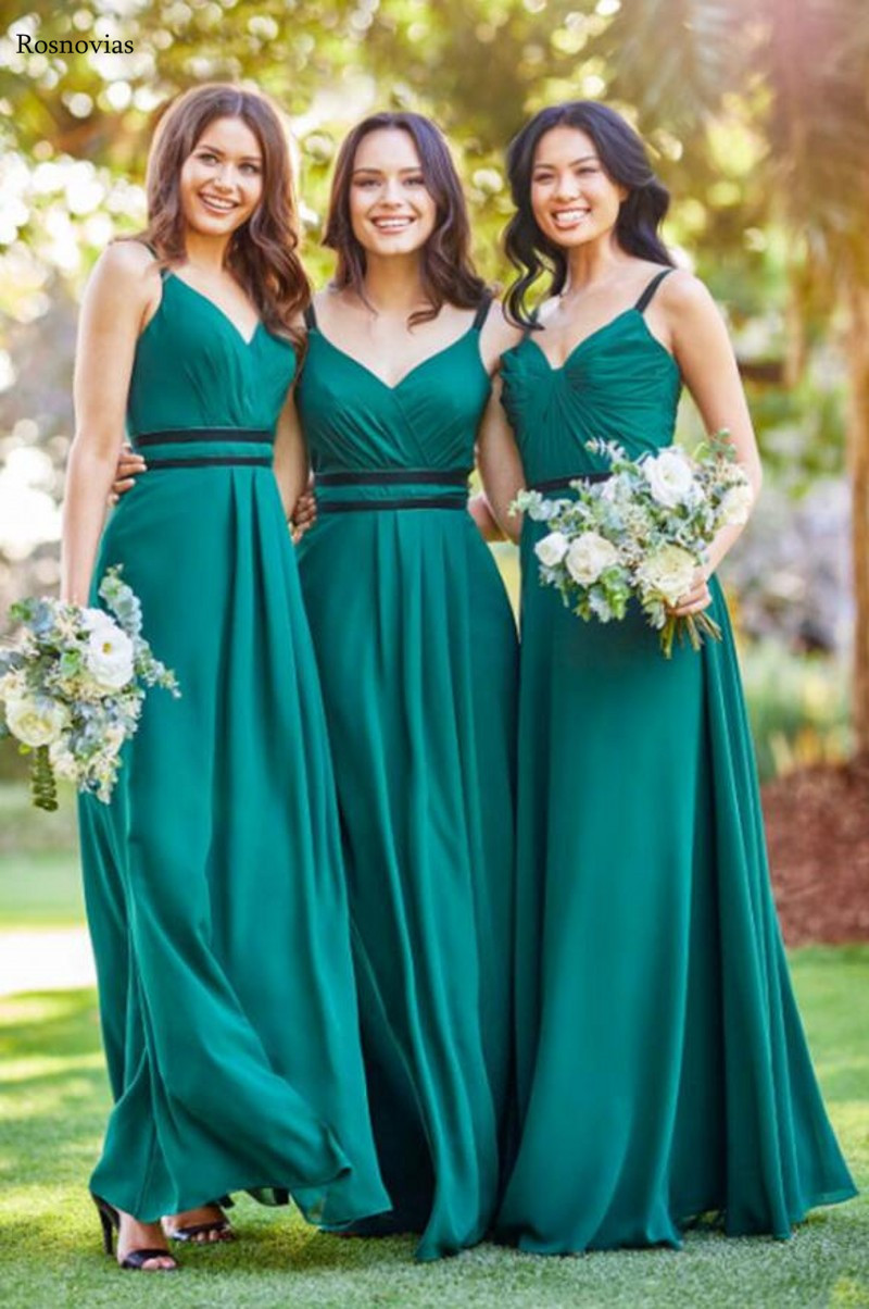 Long A Line   Bridesmaid     Dresses   For Weddings 2019 V Neck Sleeveless Sweep Train Stain Wedding Guest Maid Of Honor Gowns Cheap