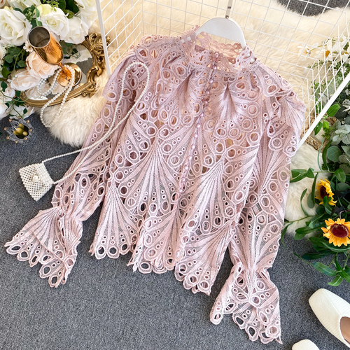 Lace Shirt Long Flare Sleeve Stand Neck Blouse 2020 Autumn Single Breasted Blusas Hollow-out Vintage Korean Shirts Blouse Women