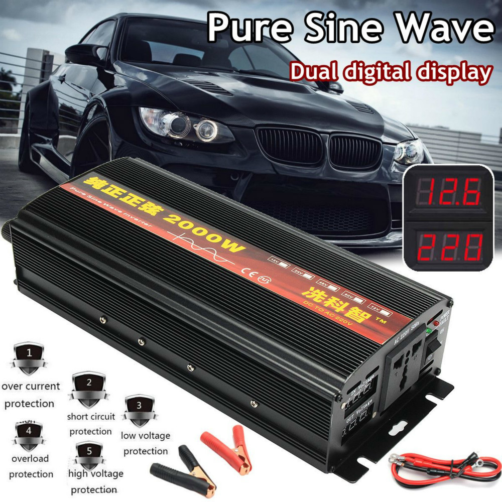 <font><b>Inverter</b></font> 12V/24V 220V 2000/3000/4000W Voltage transformer Pure Sine Wave <font><b>Power</b></font> <font><b>Inverter</b></font> DC12V to AC 220V Converter 2 LED Display image