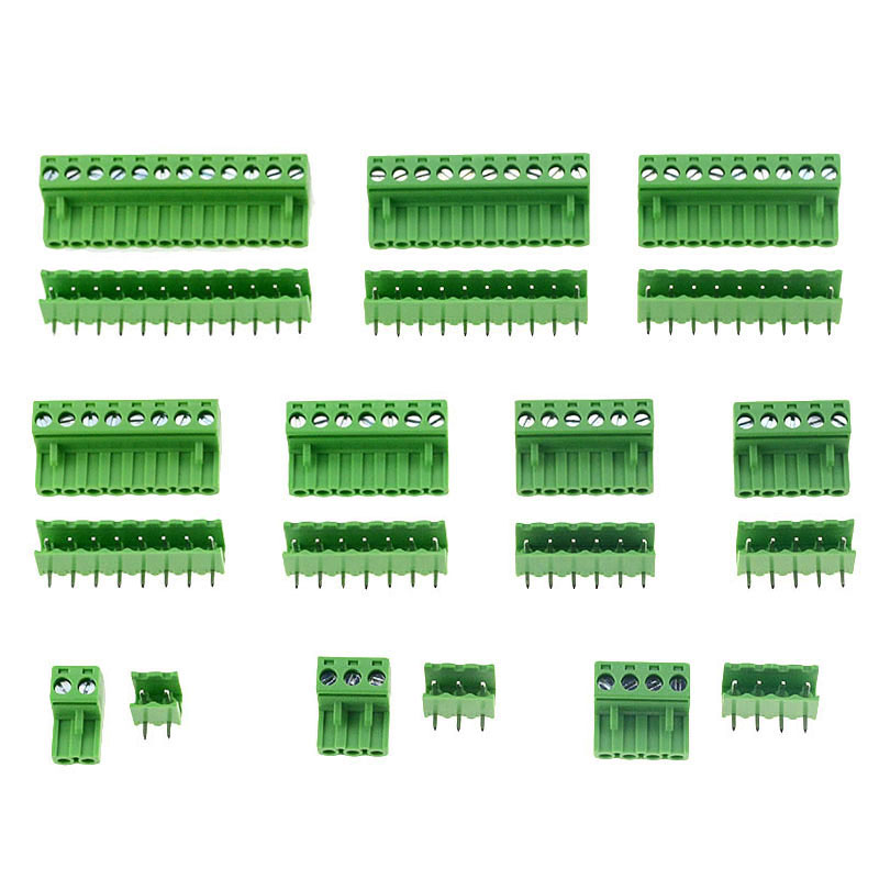 10sets HT5.08 Right Angle 2 3 4 5 6 7 8 9 <font><b>10</b></font> 12 <font><b>pins</b></font> Terminal plug type 300V 10A 5.08mm pitch <font><b>PCB</b></font> <font><b>connector</b></font> screw terminal block image