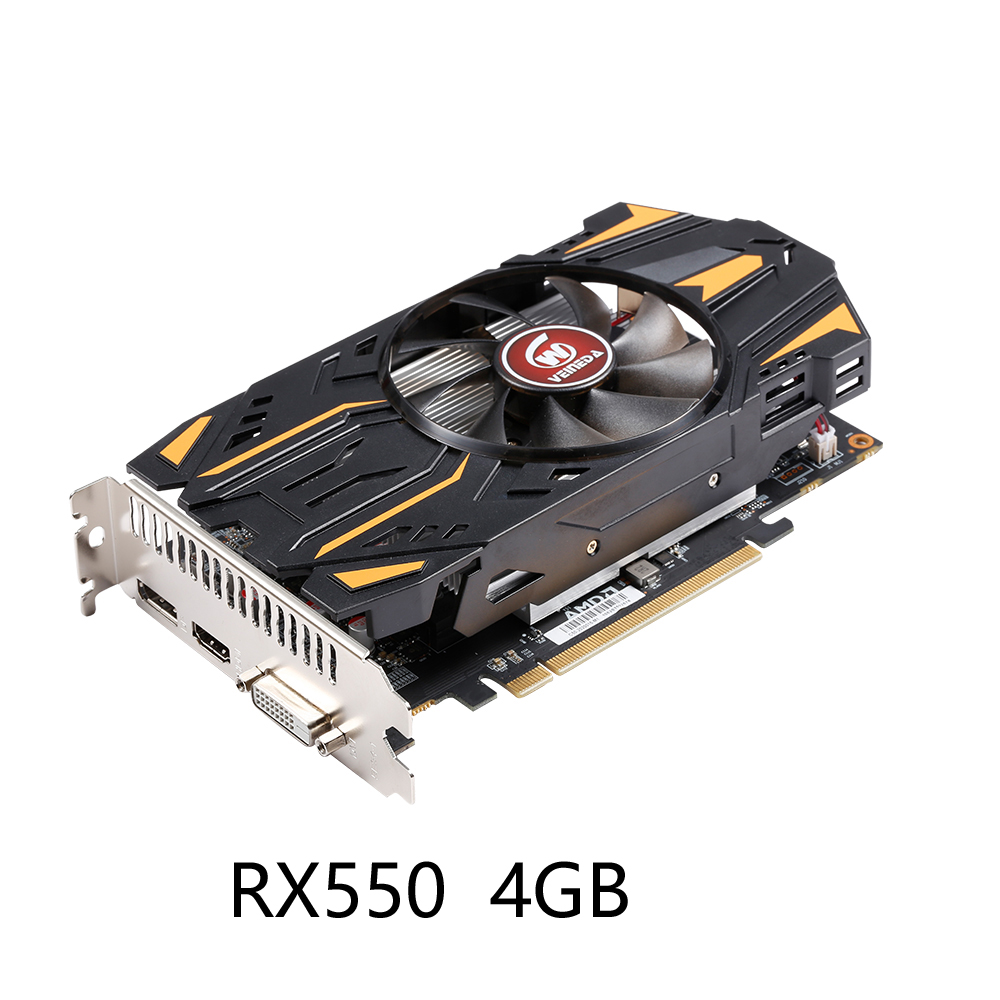 VEINEDA Graphics Cards RX550 4GB GDDR5 Video Card For AMD <font><b>rx</b></font> <font><b>550</b></font> series Radeon RX550 4GB DisplayPort HDMI DVI image
