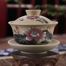 130 мл Чайная Посуда античная грубая керамика ручная роспись Gaiwan, чайная чашка керамическая чашка чайный набор кунг-фу чаша китайский чай мастер чашка супница