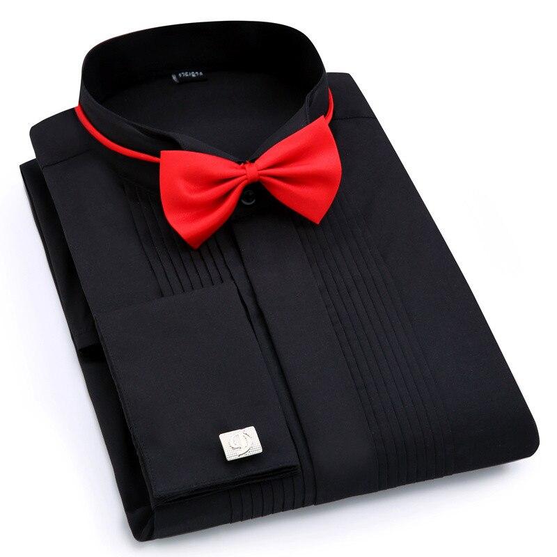 Image 5 - Men Wedding Tuxedo Long Sleeve Dress Shirts French cufflinks Swallowtail Fold Dark button design Gentleman shirt White Red BlackTuxedo Shirts   -
