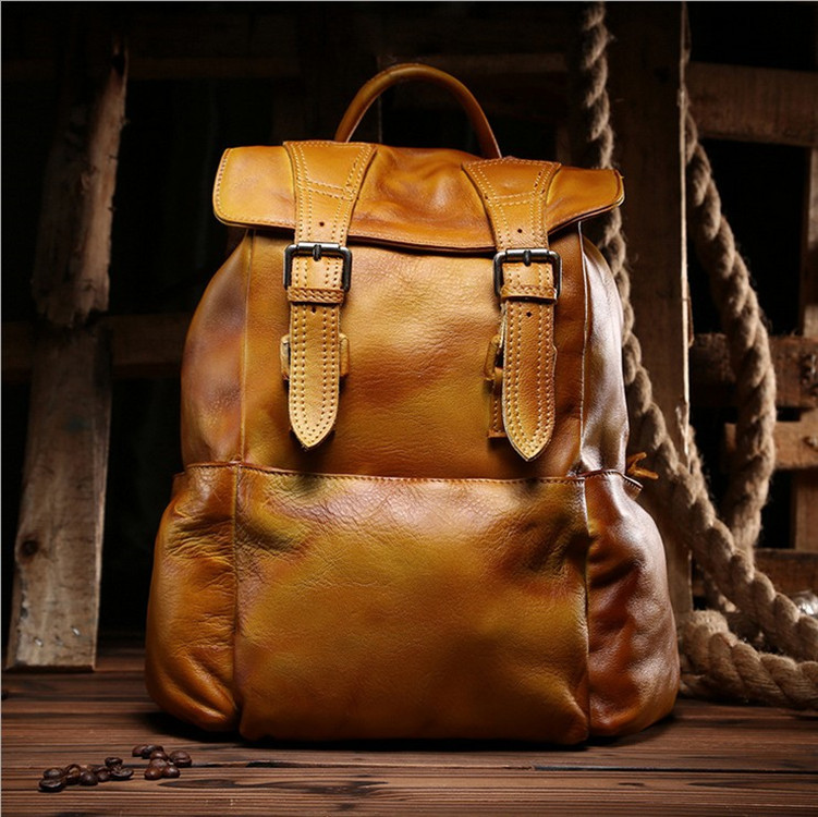Leather Casual Shoulder Bag Cow Leather Backpack Women Men Bag