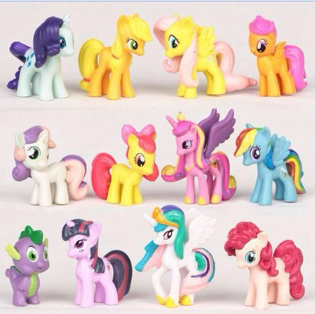 <font><b>12</b></font> pcs/set 3-5cm little poni PVC Rainbow <font><b>horse</b></font> cute little <font><b>horse</b></font> action toy <font><b>figures</b></font> dolls for girl birthday christmas gift image