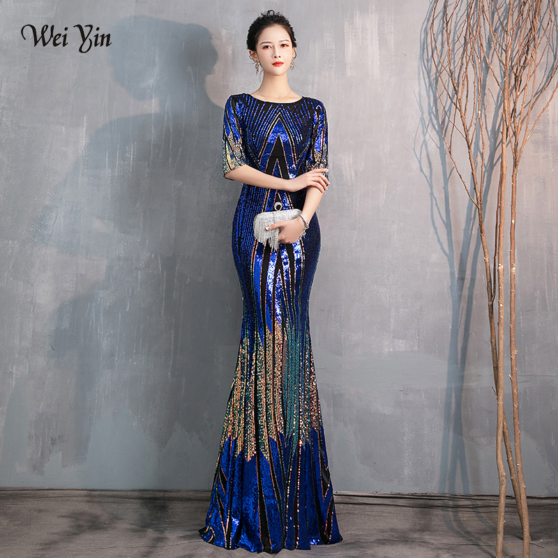 wei yin AE0370 Blue Evening Dress Long Sparkle Half Sleeve O-Neck Women Elegant Sequin Mermaid Maxi Evening Party Gown Dress