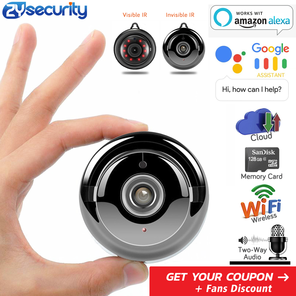 FullHD 1080p Home Security WiFi Mini Camera, Work With Alexa - Wireless IP Indoor Surveillance System - Invisible Night Vision