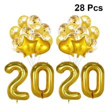 28Pcs/Set 2020 Xmas Ballon New Year Balloons Christmas Decoration Festival Placement Party Supplies Aluminum Film Sequin Baloon