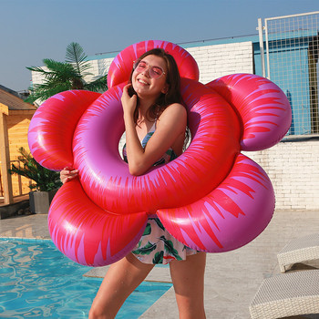 цена на Beach Swimming Pool Inflatable Flower Swimming Ring Adult Lounge Chair Water Floating Row Sun Flower Floating Bed  Water Sport