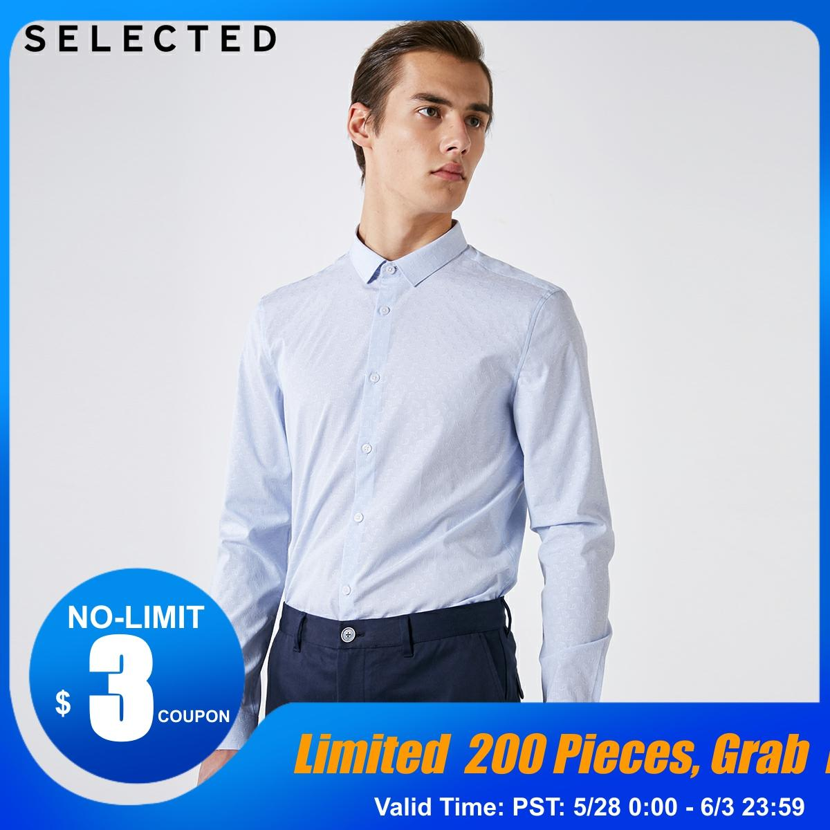 SELECTED Men's 100% Cotton Slim Fit Striped Jacquard Long-sleeved Shirt S|419105516