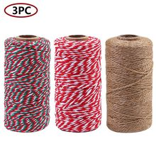 3 Rolls Christmas Natural Jute String Cotton Twine,984 Feet Totally practical Home durable decoration Leisure(China)