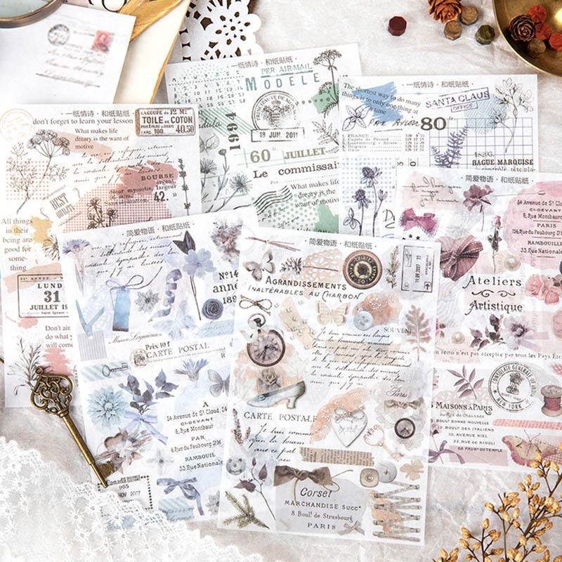 Cute Cartoon Bear Decorative Stickers Retro Stamp Adhesive Stickers Creative DIY Sticker For Kids School Stationery Supplies