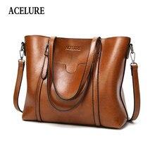 ACELURE-bolso de piel con cera de aceite para dama, maleta con cera de aceite, de piel, de lujo, con bolsillo