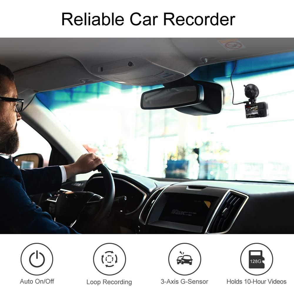 Автомобильный видеорегистратор AKASO Full HD 1080P с двойным объективом 2K Wi Fi с приложением для телефона gps двойной видео цифровой видеорегистратор для автомобиля в комплекте 32 Гб карта - 6