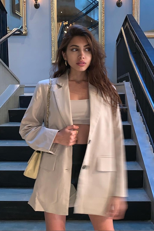 Casual Stylish Ladies Blazer Loose Solid Beige Suit Jacket Simple Long Sleeve Blazer De Mujer High Street Women Jacket MM60NXZ