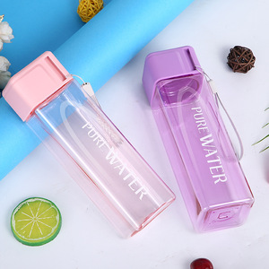 New Square Tea Milk Fruit Water Cup 480ml for Water Bottles Drink with Rope Transparent Sport Shaker Water Bottle Hydro Flask