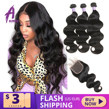 Alimice Hair Brazilian Body Wave Bundles With Closure Human 3 Weave Remy - discount item  42% OFF Human Hair (For Black)