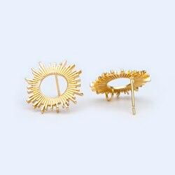 10 sztuk okrągłe do ucha posty 19mm, 18K prawdziwe złoto niklowany mosiądz, geometryczny pierścionek stadniny kolczyki (# GB-1091)
