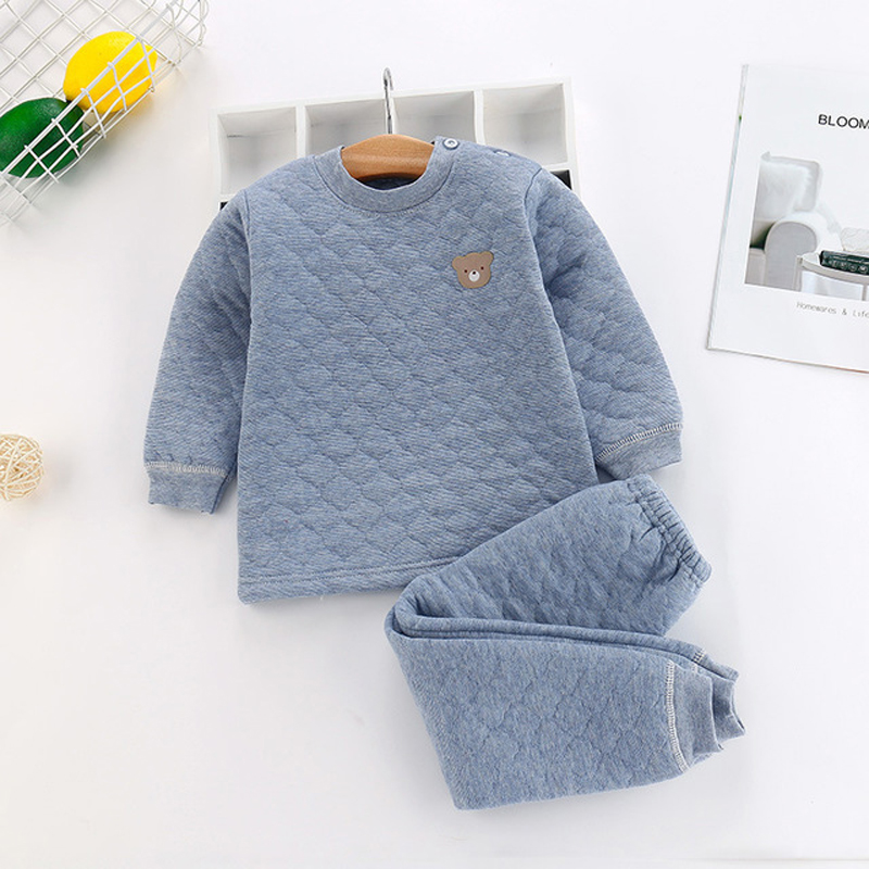Toddler Kids Thermal Underwear Winter Cotton Thick Boys Pyjamas Girls Sets For Winter Children Long Johns Warm Suits
