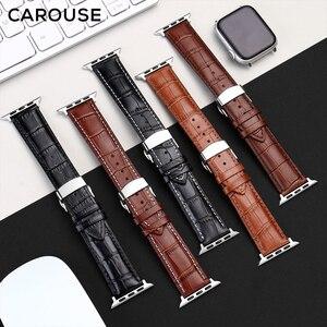 Image 2 - Carouse Genuine Kalbsleder Armband Für Apple Uhr Band Serie SE/6/5/4/3/2/1 38mm 42mm Lederband Für iWatch 40mm 44mm