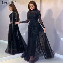 Black High Collar Sexy A Line Prom Dresses 2020 Sequins Sparkle Long Sleeves Prom Gowns Serene Hill BLA70066