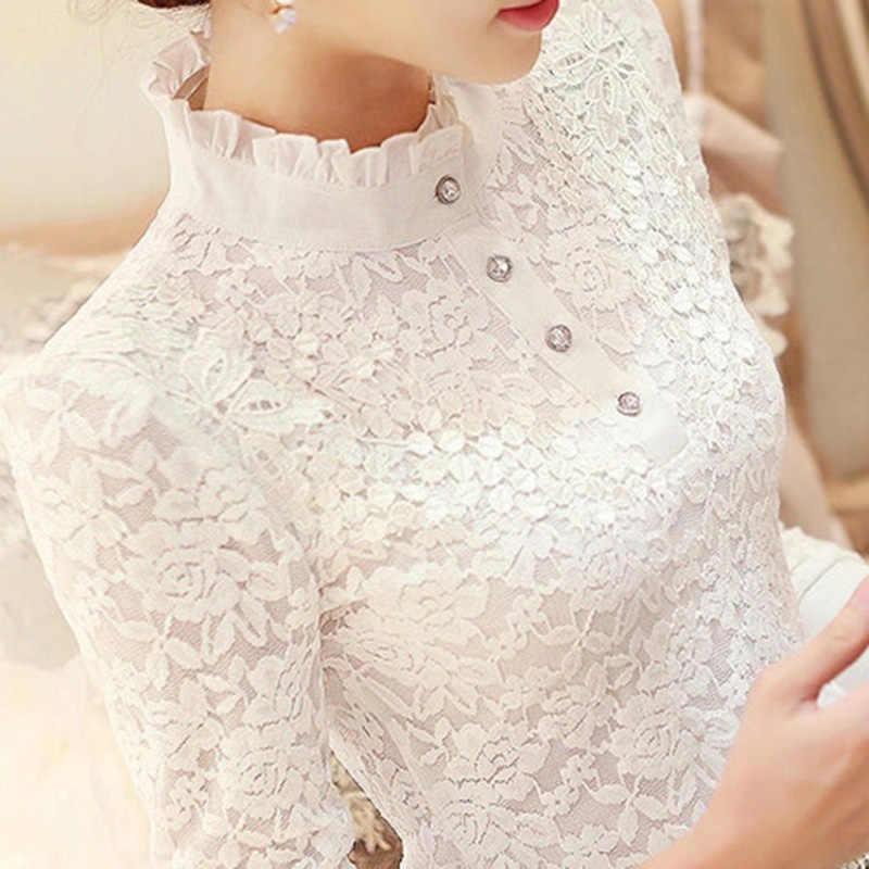 2019 nieuwe ruches kant vrouwen blouse en shirts parel lange mouwen slim office lady elegant wit shirts uitloper tops