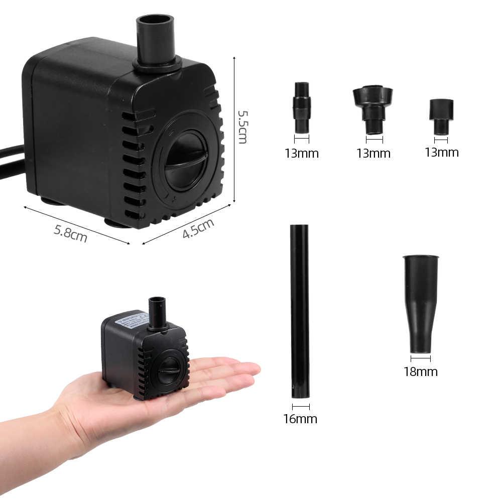 الحوض مضخة هواء 15W فائقة الهدوء USB المياه مضخة مع الطاقة الحبل IP68 للماء خزان حوض أسماك نافورة مع 12 مصباح ليد
