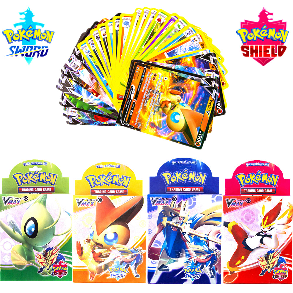 50Pcs/box Pokemon Card Sword & Shield New Edition Vmax And V Cards Collectible Trading Card Game