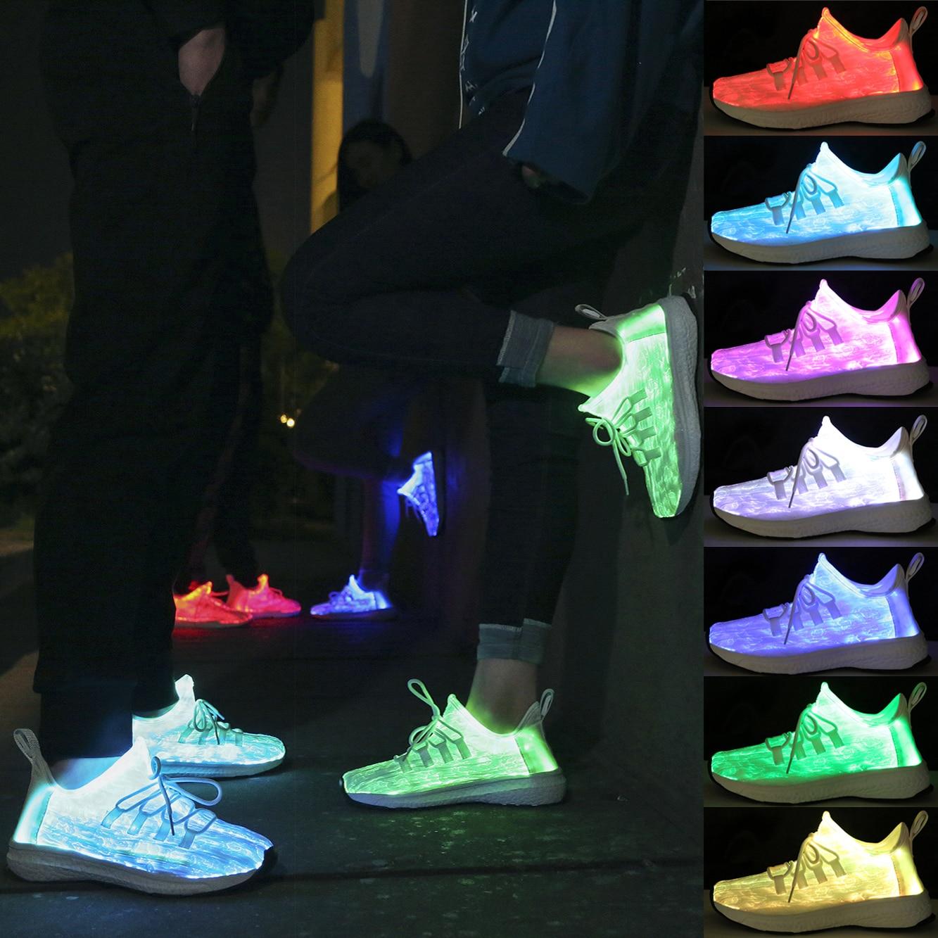 Big Size25-46 Led Fiber Optic Shoes for Girls Boys Men Women USB Recharge Glowing Sneakers Man Light Up Shoes Street dance Shoes