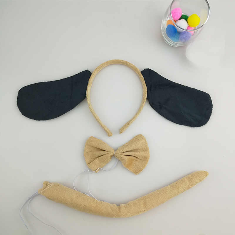 Kids Boys Girls Dalmatian Dog Ear Headband Bow Tie Tail Animal Cosplay Carnival Party Halloween Costume for Kids Birthday Gift