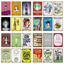 Abeto-carteles de Metal para decoración de Bar y fiesta, letreros de estaño Vintage para Club, hogar, pared, arte, pintura, placa decorativa, tónico, póster YM018