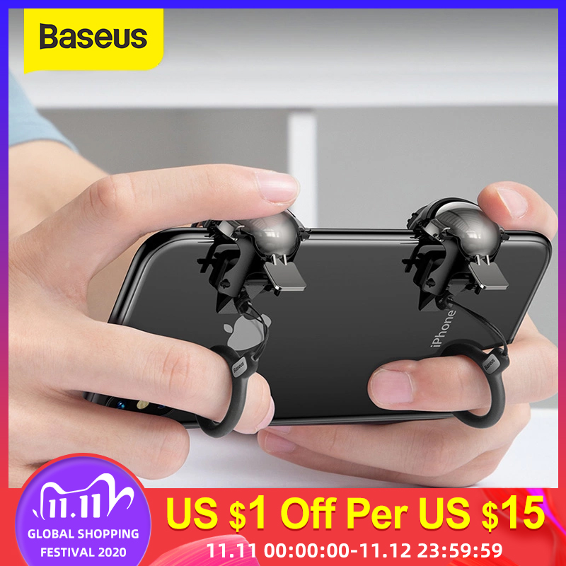 Baseus Pubg Controller for iPhone XR L1 R1 Gaming Trigger Pubg Mobile Gamepads Fire Button Smart Phone Mobile Shooter Controller