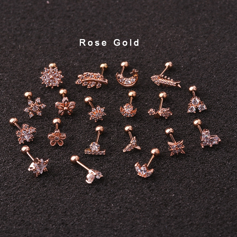 1Piece 20g Rose gold Cz Cartilage Star Flower Fish Crown Helix Piercing Jewelry Tragus Stud Conch Earring