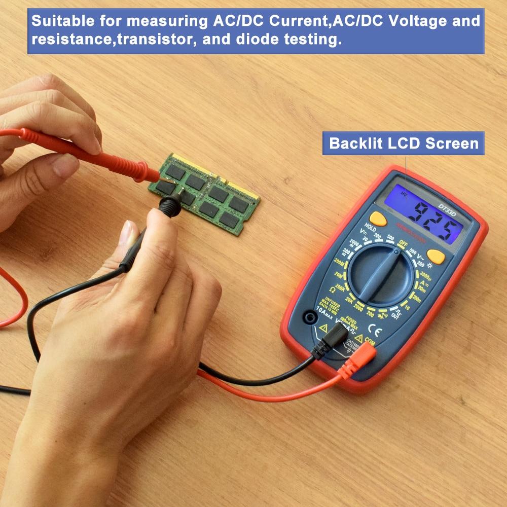 NEWACALOX DT33 LCD Multímetro digital Luz de fondo AC / DC - Instrumentos de medición - foto 6