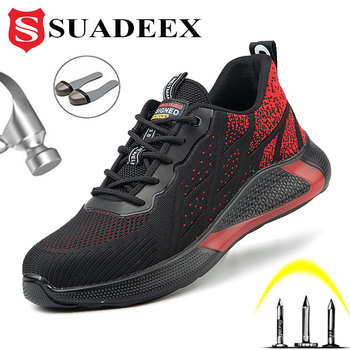 SUADEEX Men Safety Work Shoes Boots Lightweight Construction Puncture Proof Sneakers Steel Toe Indestructible Footwear 38-48 suadeex steel toe boots for men military work boots indestructible work shoes desert combat safety boots army safety shoes