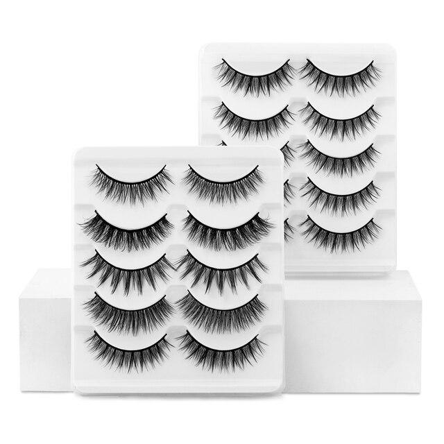 SEXYSHEEP 5/10 pair 3D Faux Mink Lashes Natural length Ru False Eyelashes Volume Fake Lashes Makeup Extension Eyelashes 4