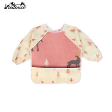 2PCS Viedouce baby bibs long sleeve newborn kid child feeding bib waterproof long full sleeve children toddlers bibs apron set(China)