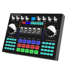 Pro Live Sound Card K1 USB Powered 2 Channel Bluetooth Digital Audio Mixer AMP Effects For Karaoke Singing Cell Phone Computer