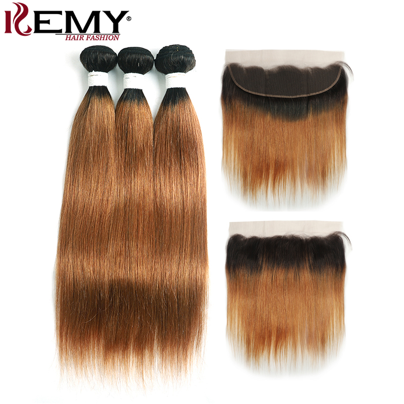 T1B/30 Ombre Brown Straight Human Hair Bundles With Closure Brazilian 1B/30 Bundles With 13*4 Frontal KEMY HAIR Non Remy 3PCS