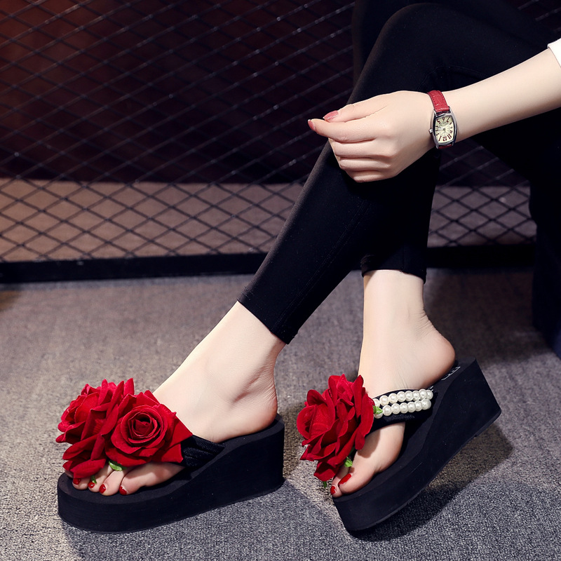 Beach Shoes Female Slippers Seaside Holiday Slip Flat Flip Flop Sandals Summer New Fashion Outside Flowers in Slippers from Shoes
