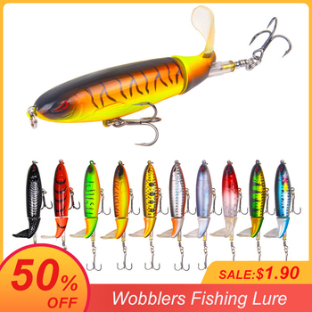 1 Pcs 10cm/14cm Topwater Fishing Lure Whopper Popper Artificial Bait Hard Plopper Soft Rotating Tail Tackle