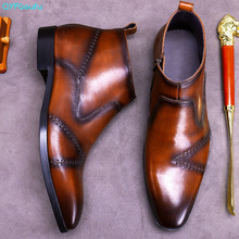 Ankle-Boot-Boots Leather Shoes Brown Zipper Genuine-Cow-Leather High-Quality Mens Black