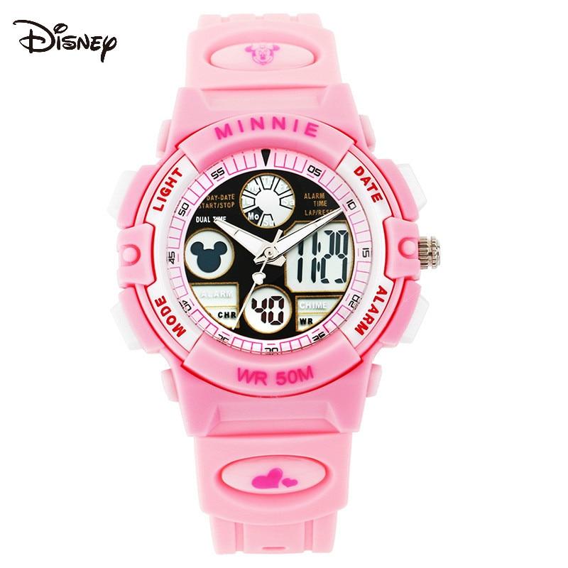 Disney дети% 27 часы Мальчики студенты водонепроницаемые спортивные электронные часы бег мода мужчины% 27 часы LED открытый многофункциональный