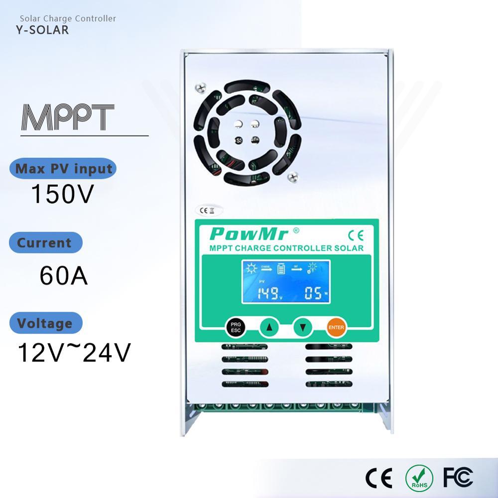 MPPT 60A ЖК-дисплей  контроллер заряда солнечной батареи 12 в 24 в 36 в 48 в  автоматический регулятор заряда батареи для макс. 190 в постоянного тока title=